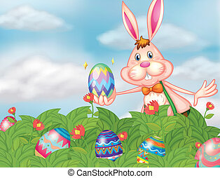 A bunny with eggs at the garden - Illustration of a bunny...