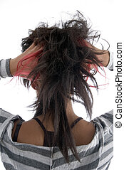 girl showing her hair on an isolated background