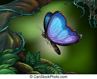 A butterfly in the rainforest - Illustration of a butterfly...