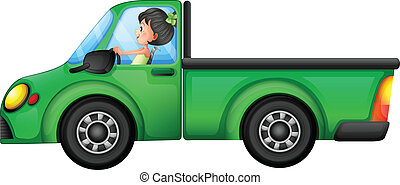 A green car driven by a girl