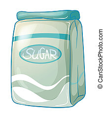 A pack of sugar - Illustration of a pack of sugar on a white...