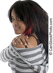beautiful african girl against white background