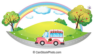 An ice cream truck - Illustration of an ice cream truck on a...