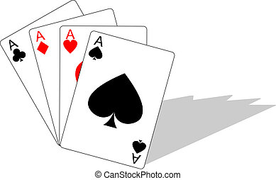 Four aces - Illustration of playing cards showing winning...