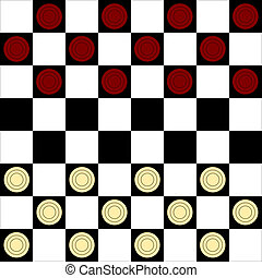 Draughts - Checker or draughts board game with symbolic...