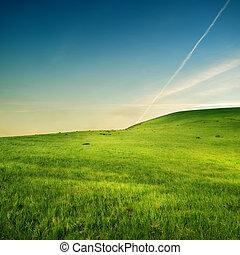 sobre, avião, verde, colinas, traço