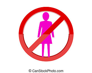 Women not allowed forbidden red sign. Concept 3D...