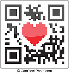 QR code heart - QR code with a red heart inside QR-Code with...
