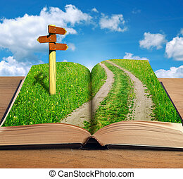 magic book with road inside and signpost on sky background