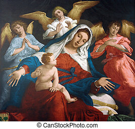 Blessed Virgin Mary with baby Jesus and angels