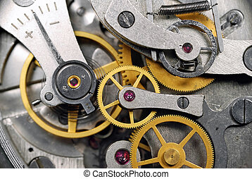 clock gear with ruby stones closeup - clock gear with red...