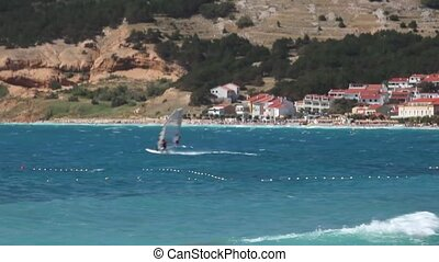 Windsurfers in Baska sea, Krk island in Croatia