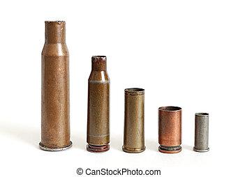 bala, cartuchos, grande, pequeño