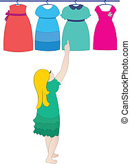choosing dress vector