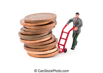 Mini man moving a stack of coins
