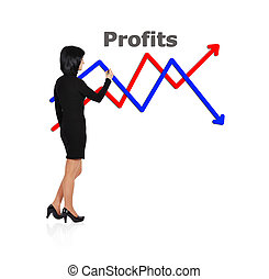 woman drawing chart profit - businesswoman drawing graph on...