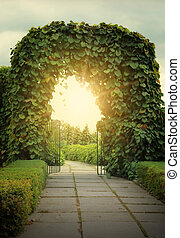 Door to the fairy land and sun beams. Fantasy landscape