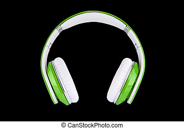 Green headphones on black backgroun - Technology for...