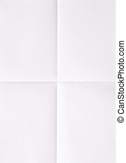 white sheet of paper folded in four, textured