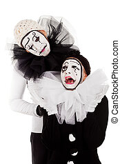 a couple sorrowful clowns isolated - a couple sorrowful...