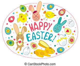 Easter Card With Graphical Elements - Vector greeting card...