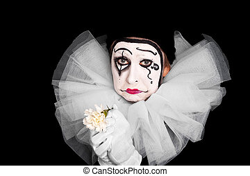 female clown is having lovesickness - female clown with...