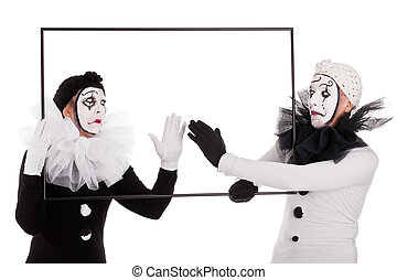 two clowns cleaning an empty picture - a couple clowns...
