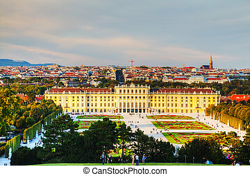 Schonbrunn palace in Vienna at sunset - VIENNA - OCTOBER 06:...
