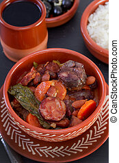 guisado, Cerâmico, tigela, arroz, azeitonas