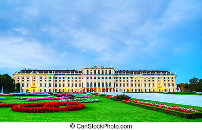Schonbrunn palace in Vienna at sunset