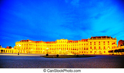Schonbrunn palace in Vienna in the evening
