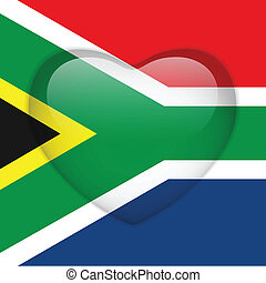 South Africa Flag Heart Glossy Button