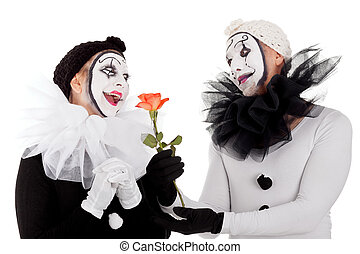 couple of clowns in love with a flower - couple of clowns in...