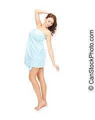 beautiful woman in towel - bright picture of beautiful woman...
