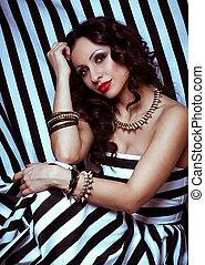 Fashion portrait - Fashion woman with jewelry bijouterie....