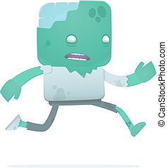 funny cartoon zombie in various poses for use in...