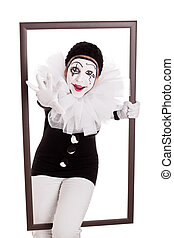 female pierrot in a frame reaching hand to viewer - female...