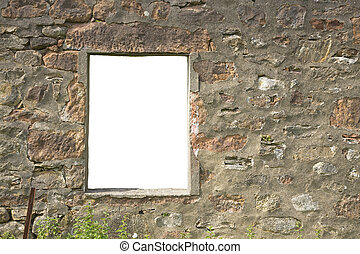 isolated window - Window frame in ruined wall with isolated...