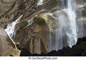 Vernal Fall - Waterfall known as Vernal Fall falling on a...