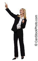 point - young blond business woman standing on white
