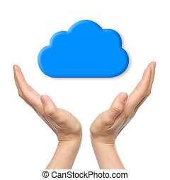 Cloud computing concept with woman hands