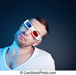 man and stereo glasses - young man, looking through stereo...