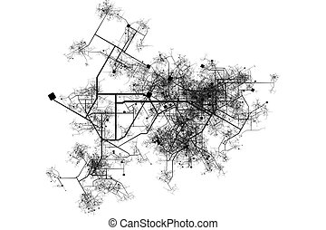 City Map Blueprint Abstract of a City in a White Background