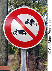 panel of prohibition to the quads and the motorcycles