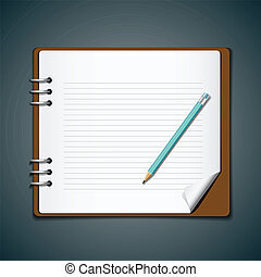 Diary note book and blue pencil for business, vector...