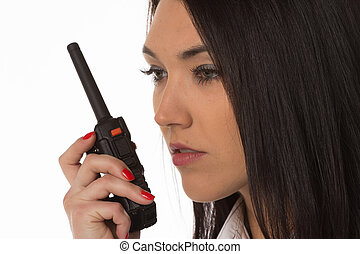 Business woman on the walkie-talkie
