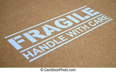 Fragile Warning Sign - Fragile Handle With Care Sign On A...
