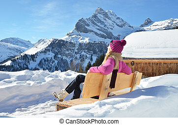 Traveler enjoying Alpine panorama Switzerland
