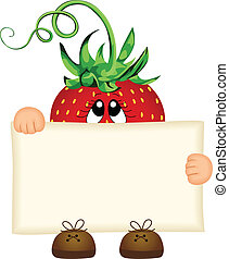 Strawberry holding a blank sign - Scalable vectorial image...
