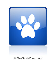 animal footprint blue square glossy web icon on white...